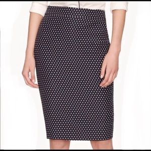 J. Crew NO 2 Pencil Skirt in Polka Dot Jacquard
